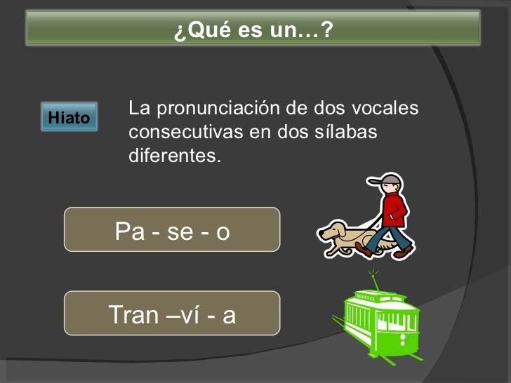 La pronunciación de dos vocales consecutivas en dos sílabas diferentes. Pa - se - o Tran –ví - a Hiato ¿Qué es un…?