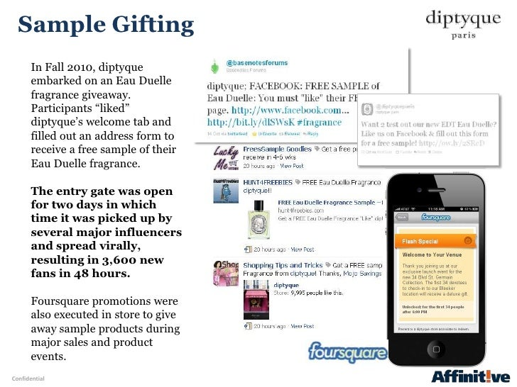 """Sample Gifting       In Fall 2010, diptyque       embarked on an Eau Duelle       fragrance giveaway.       Participants """"..."""