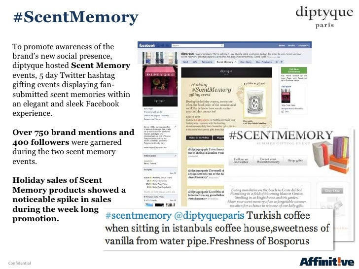 """#ScentMemory  To promote awareness of the  brand""""s new social presence,  diptyque hosted Scent Memory  events, 5 day Twitt..."""