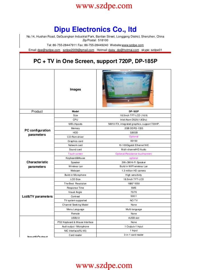 www.szdpe.com                     Dipu Electronics Co., ltd  No.14, Hushan Road, DaGuangkan Industrial Park, Bantian Stree...