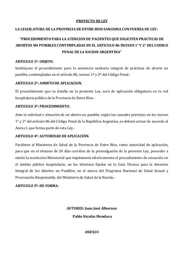 """PROYECTO DE LEYLA LEGISLATURA DE LA PROVINCIA DE ENTRE RIOS SANCIONA CON FUERZA DE LEY:  """"PROCEDIMIENTO PARA LA ATENCION D..."""