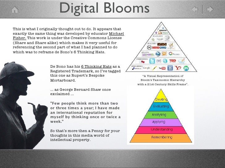 Digital BloomsThis is what I originally thought out to do. It appears thatexactly the same thing was developed by educator...