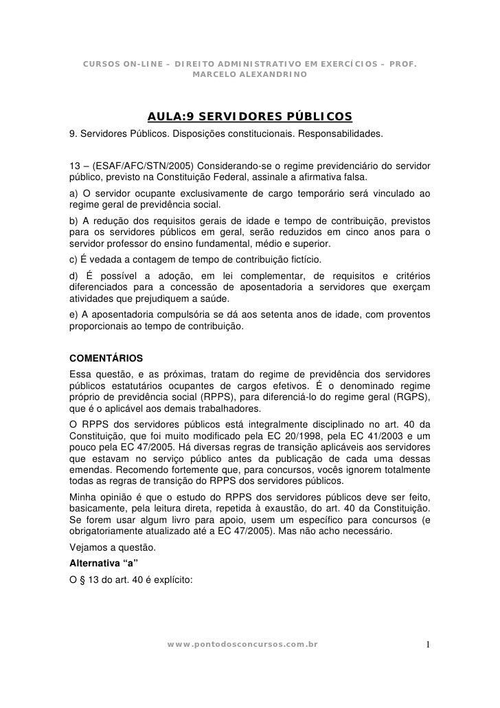 CURSOS ON-LINE – DIREITO ADMINISTRATIVO EM EXERCÍCIOS – PROF.                        MARCELO ALEXANDRINO                  ...
