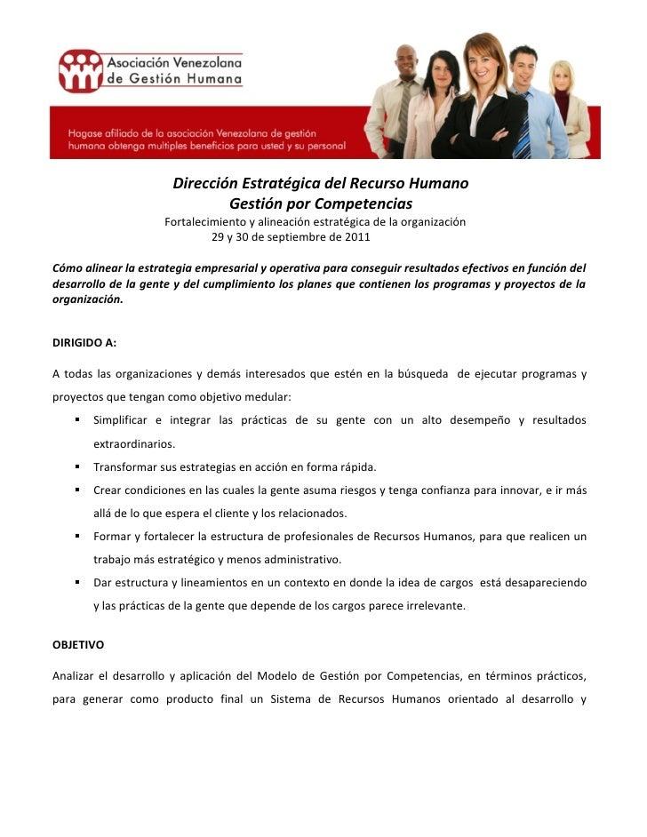 Dirección Estratégica del Recurso Humano                                Gestión por Competencias                      Fort...