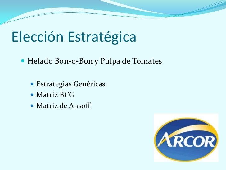 Elección Estratégica  Helado Bon-o-Bon y Pulpa de Tomates    Estrategias Genéricas    Matriz BCG    Matriz de Ansoff