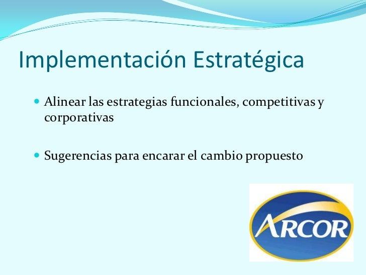 Implementación Estratégica  Alinear las estrategias funcionales, competitivas y   corporativas  Sugerencias para encarar...