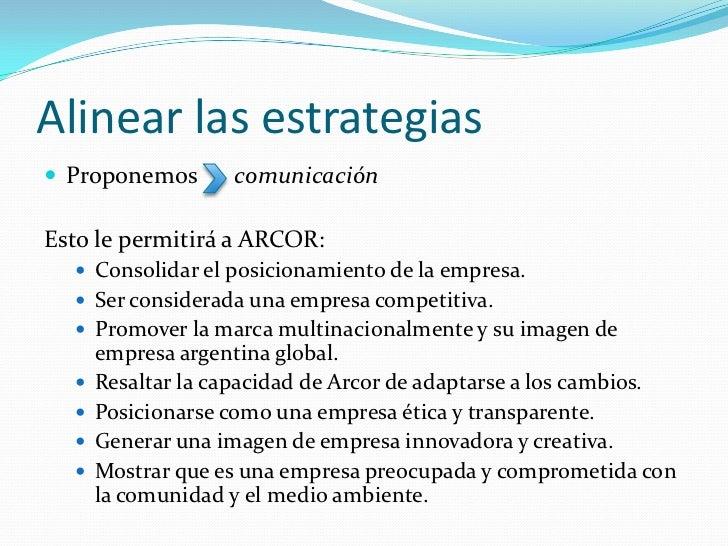 Alinear las estrategias Proponemos       comunicaciónEsto le permitirá a ARCOR:   Consolidar el posicionamiento de la em...