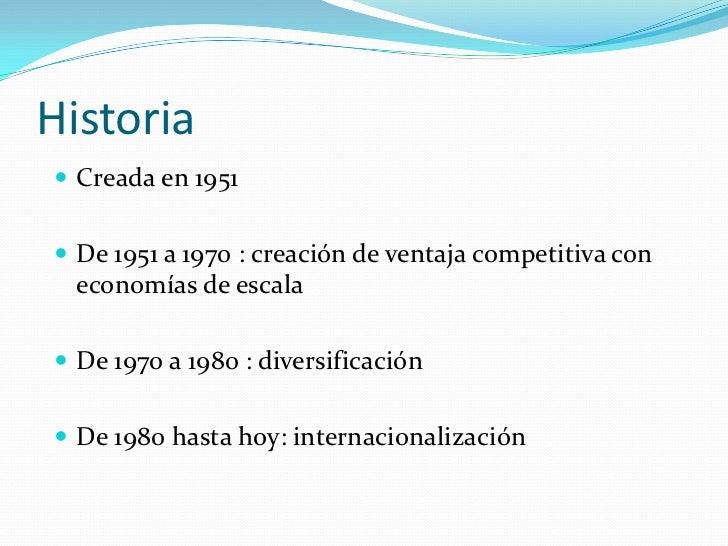 Historia Creada en 1951 De 1951 a 1970 : creación de ventaja competitiva con  economías de escala De 1970 a 1980 : dive...