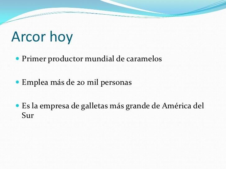 Arcor hoy Primer productor mundial de caramelos Emplea más de 20 mil personas Es la empresa de galletas más grande de A...