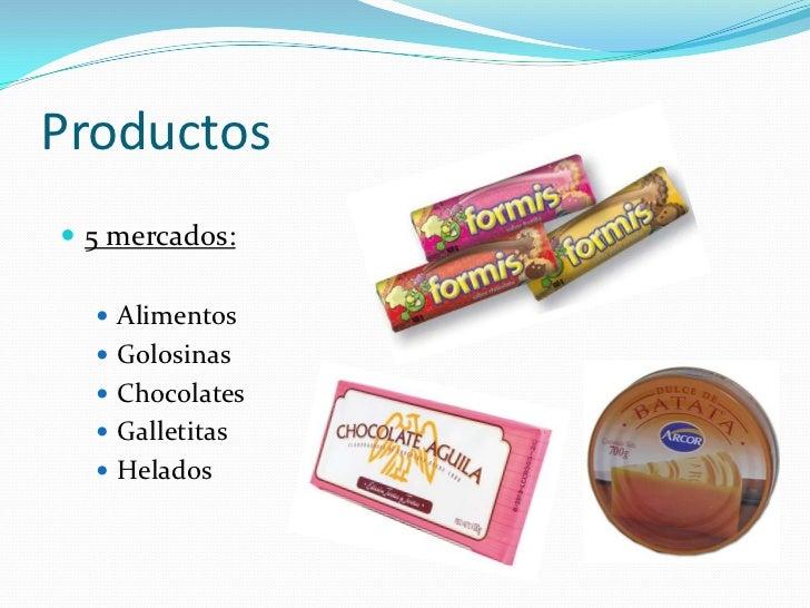 Productos 5 mercados:   Alimentos   Golosinas   Chocolates   Galletitas   Helados