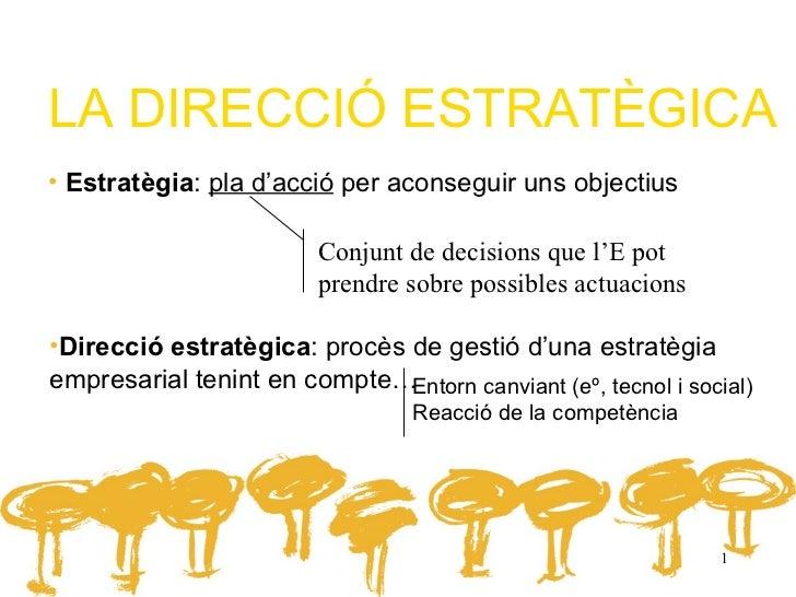LA DIRECCIÓ ESTRATÈGICA• Estratègia: pla d'acció per aconseguir uns objectius                         Conjunt de decisions...