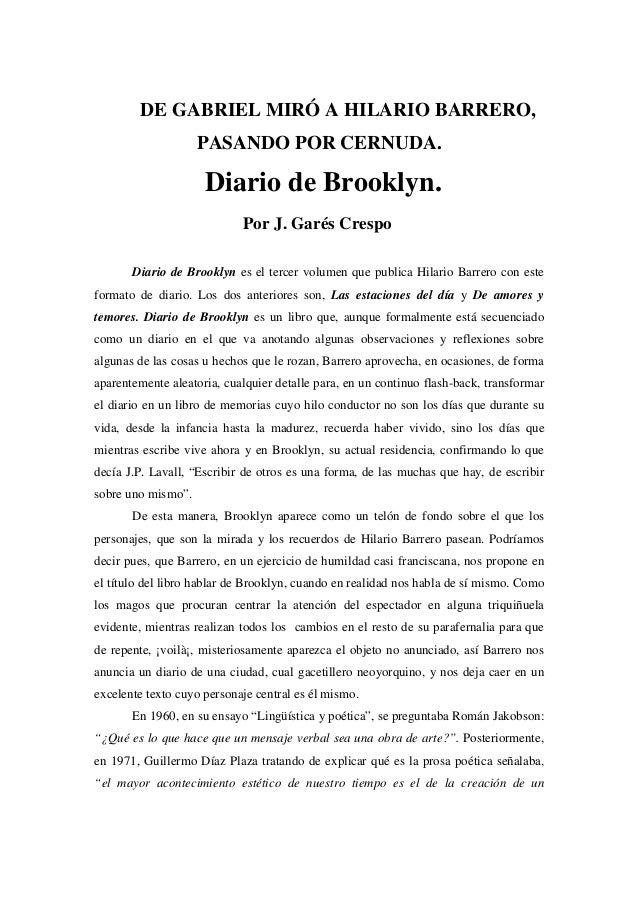 DE GABRIEL MIRÓ A HILARIO BARRERO,                    PASANDO POR CERNUDA.                     Diario de Brooklyn.        ...