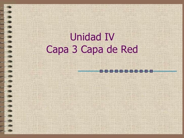 Unidad IVCapa 3 Capa de Red