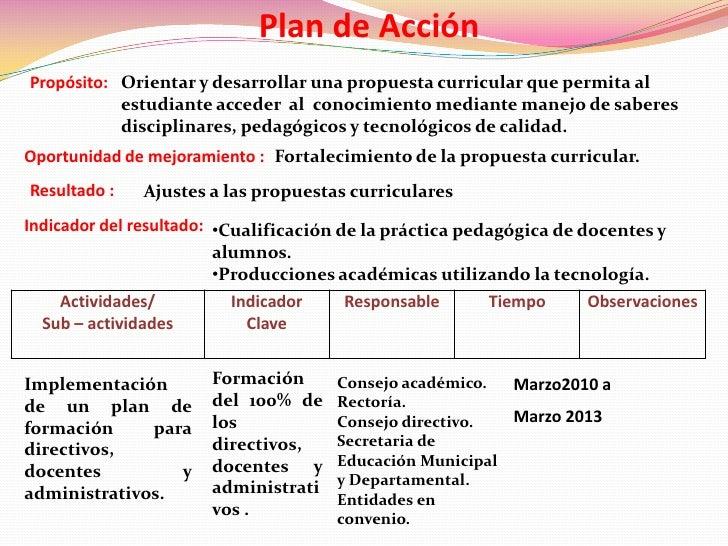 Plan de Acción<br />Propósito:<br />Orientar y desarrollar una propuesta curricular que permita al estudiante acceder  al ...