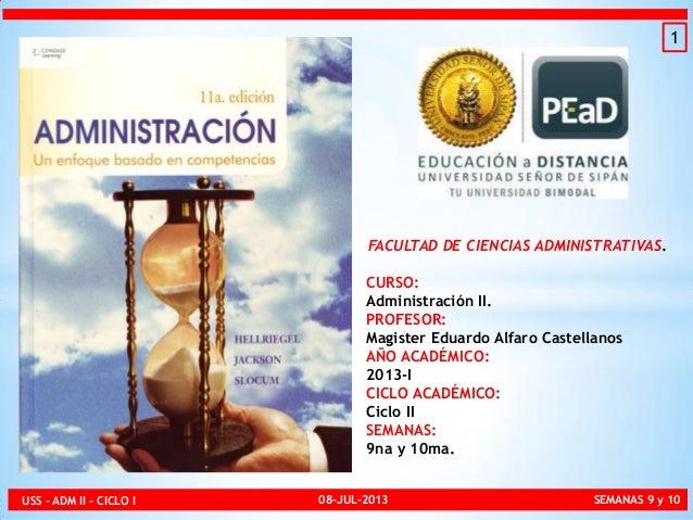 FACULTAD DE CIENCIAS ADMINISTRATIVAS. CURSO: Administración II. PROFESOR: Magister Eduardo Alfaro Castellanos AÑO ACADÉMIC...