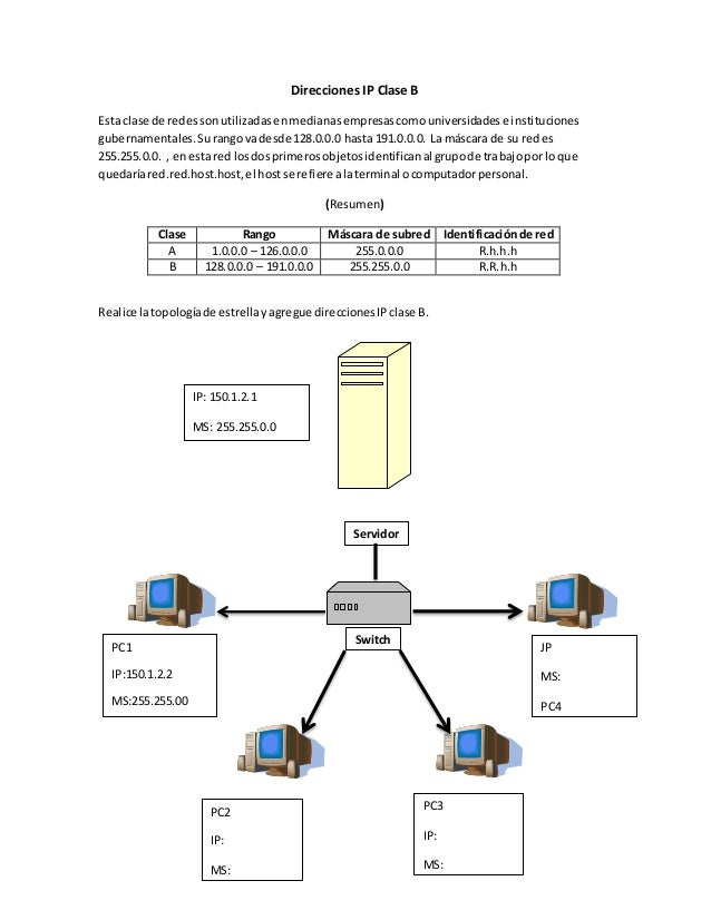 Direcciones IP Clase B Esta clase de redessonutilizadasenmedianasempresascomouniversidadese instituciones gubernamentales....