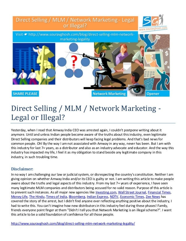 http://www.souravghosh.com/blog/direct-selling-mlm-network-marketing-legality/ Direct Selling / MLM / Network Marketing - ...