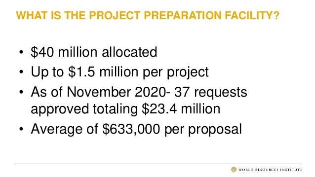PROJECT PREPARATION FUNDING AT CLIMATE FUNDS