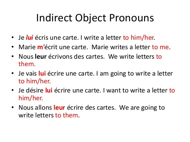 Direct and indirect object pronouns francais
