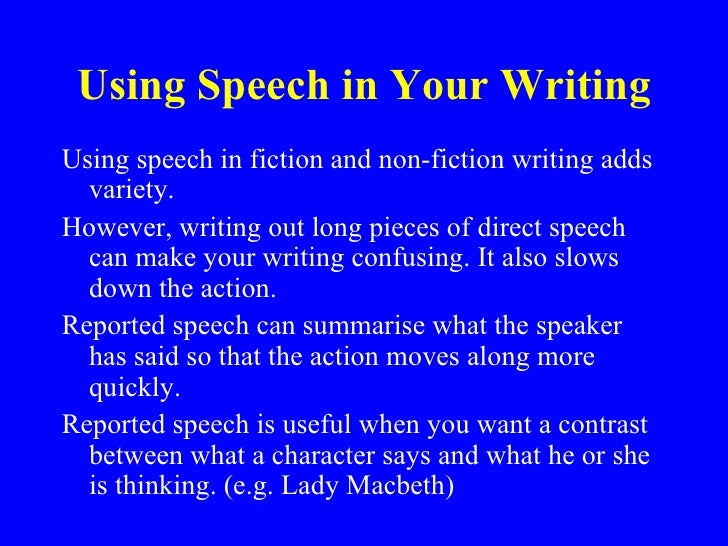 use for point speech and toast through writing