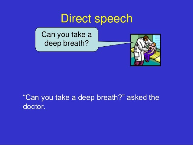 """Direct speech     Can you take a      deep breath?""""Can you take a deep breath?"""" asked thedoctor."""