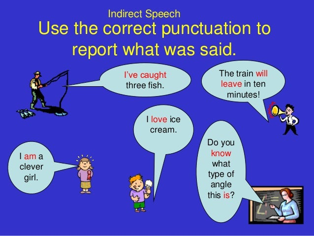 Indirect Speech     Use the correct punctuation to         report what was said.                I've caught           The ...