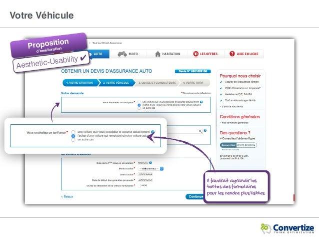 Votre Véhicule Aesthetic-Usability ✔ Il faudrait agrandir les textes des formulaires pour les rendre plus lisibles Proposi...