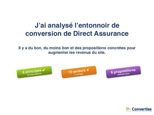J'ai analysé l'entonnoir de conversion de Direct Assurance  Il y a du bon, du moins bon et des propositions concrètes pou...