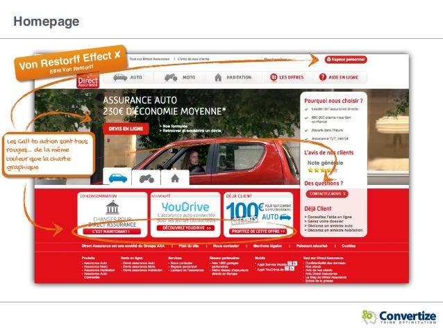 Homepage Les Call to action sont tous rouges… de la même couleur que la charte graphique Von Restorff Effect ✘ Effet Von R...
