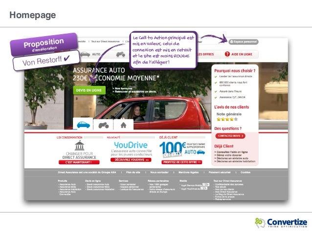 Homepage Von Restorff ✔ Proposition d'amélioration Le Call to Action principal est mis en valeur, celui de connexion est m...