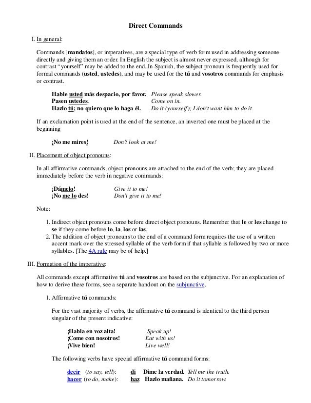 Direct commands in spanish solutioingenieria Images