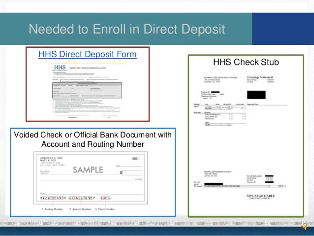 bank document for direct deposit