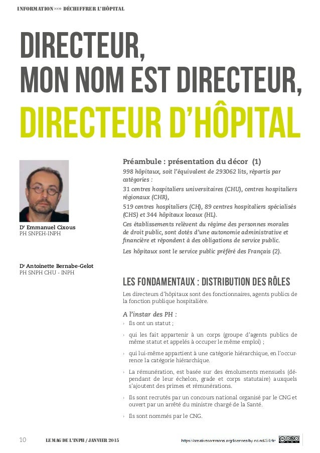 LES FONDAMENTAUX : Distribution des rôles Directeur, mon nom est Directeur, Dr Emmanuel Cixous PH SNPEH-INPH Dr Antoinette...