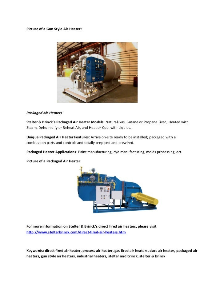 Direct Fired Air Heater Types Process Air Heaters Gas
