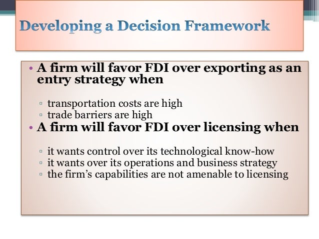 export licensing fdi The fdi law established kdipa to solicit investment proposals, evaluate their  potential, and assist in the licensing process the fdi law allows 100 percent.