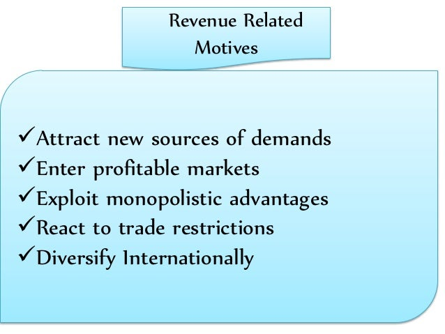 revenue-related motive for direct foreign investment in the united