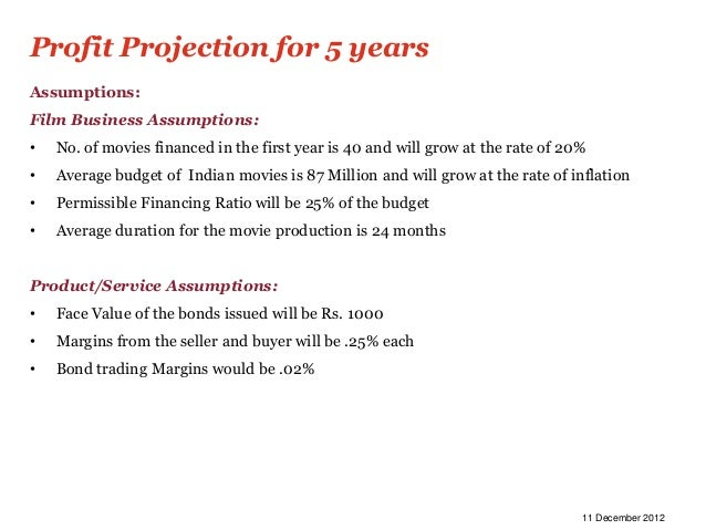 Profit Projection for 5 yearsAssumptions:Film Business Assumptions:•   No. of movies financed in the first year is 40 and ...