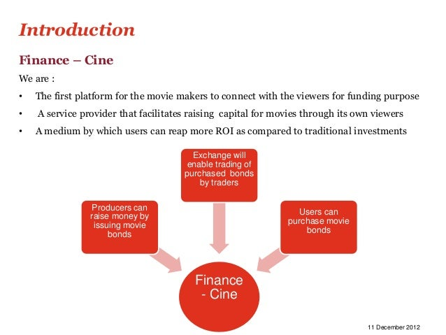 IntroductionFinance – CineWe are :•   The first platform for the movie makers to connect with the viewers for funding purp...