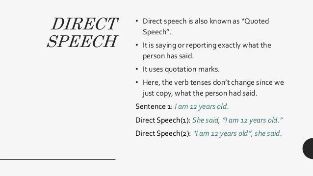 Direct & indirect speech Slide 2