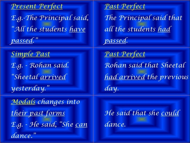 """Present Perfect E.g.-The Principal said, """"All the students have passed."""" Past Perfect The Principal said that all the stud..."""