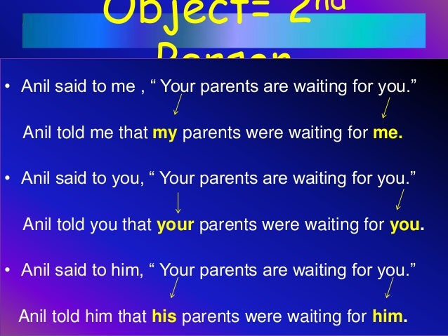 """Object= 2nd Person• Anil said to me , """" Your parents are waiting for you."""" Anil told me that my parents were waiting for m..."""