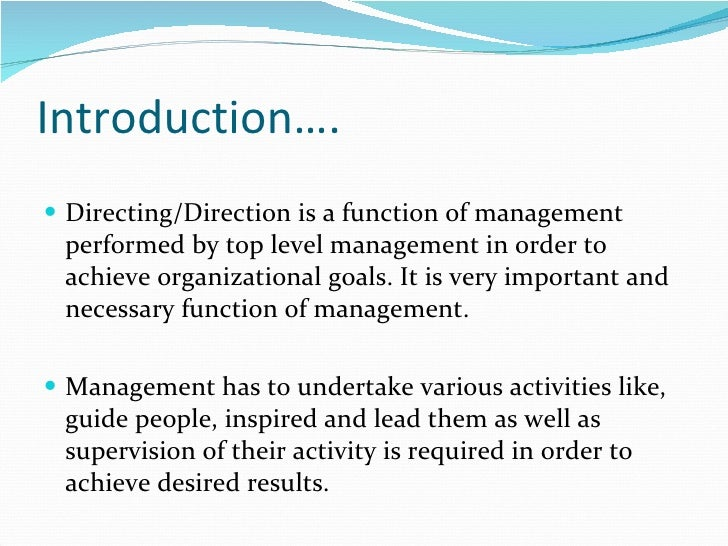 what is directing in management function