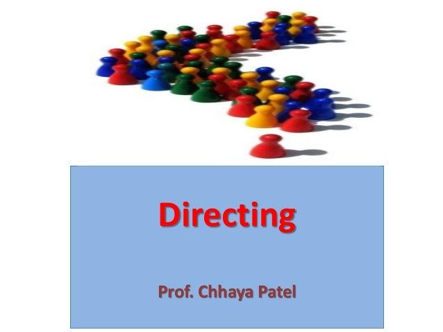 Directing Prof. Chhaya Patel