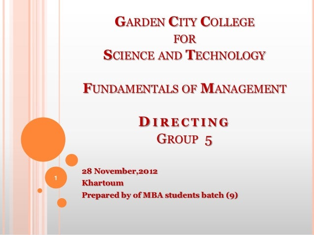 GARDEN CITY COLLEGE                         FOR         SCIENCE AND TECHNOLOGY    FUNDAMENTALS OF MANAGEMENT              ...