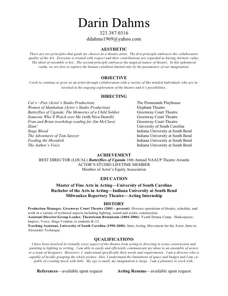 theatrical director resume