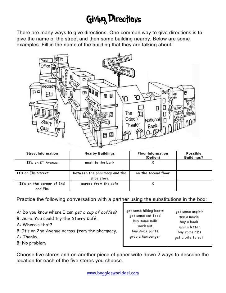 giving directions activity. Black Bedroom Furniture Sets. Home Design Ideas