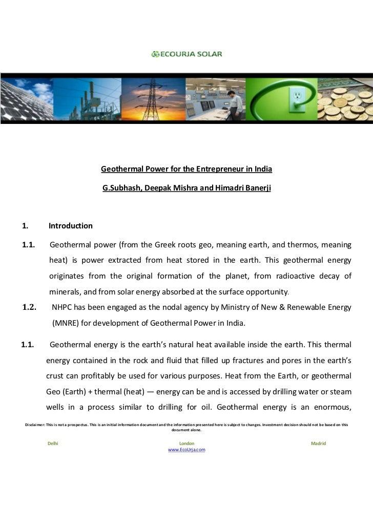 Geothermal Power for the Entrepreneur in India                                            G.Subhash, Deepak Mishra and Him...