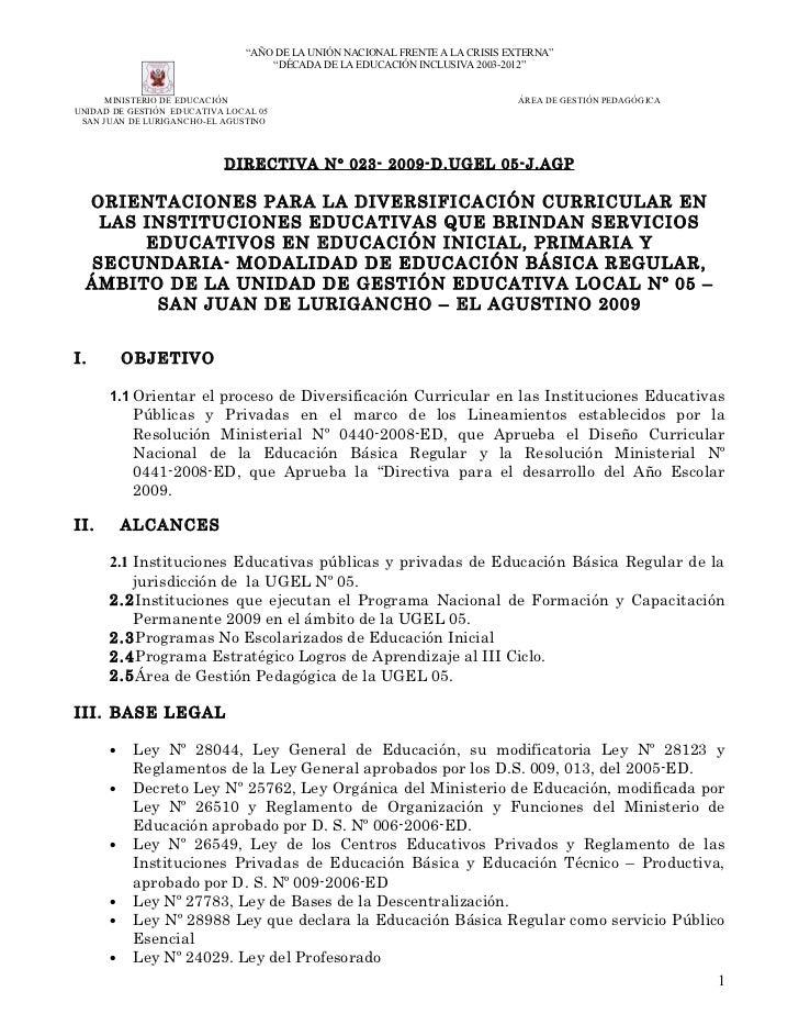 """""""AÑO DE LA UNIÓN NACIONAL FRENTE A LA CRISIS EXTERNA""""                                    """"DÉCADA DE LA EDUCACIÓN INCLUSIVA..."""