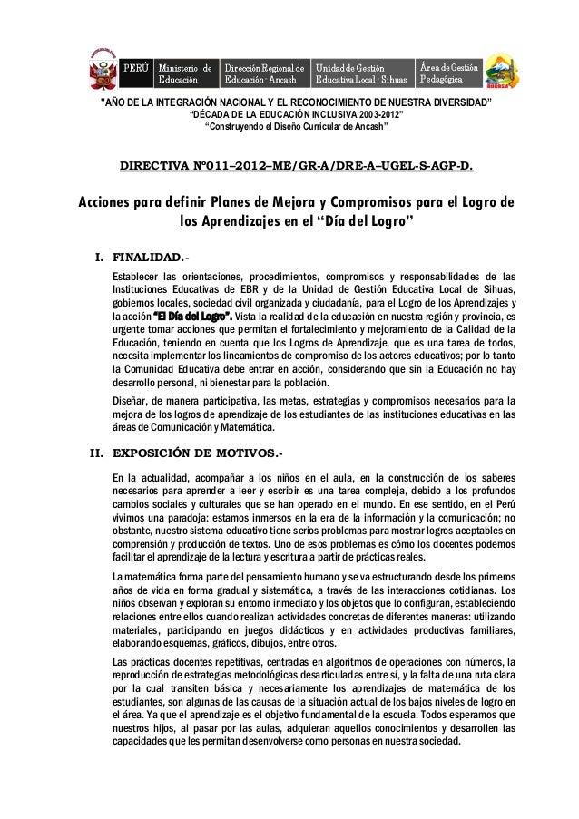"""""""AÑO DE LA INTEGRACIÓN NACIONAL Y EL RECONOCIMIENTO DE NUESTRA DIVERSIDAD"""" """"DÉCADA DE LA EDUCACIÓN INCLUSIVA 2003-2012"""" """"C..."""