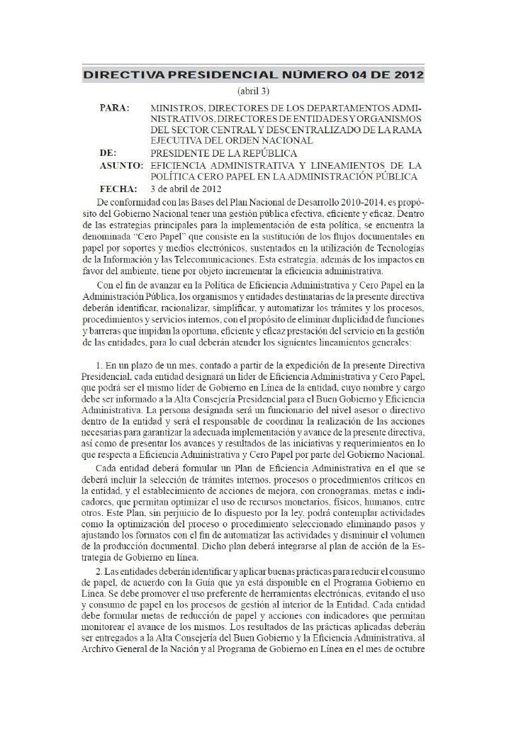 Tomado del Diario Oficial, Martes 3 de abril de 2012 – Presidencia de la República de Colombia